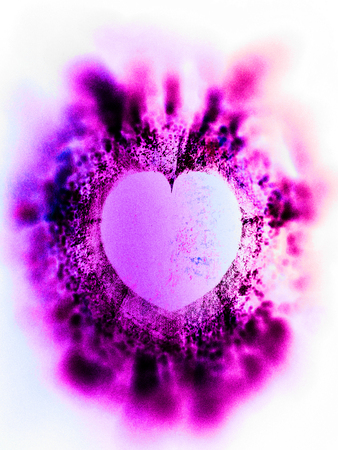 heart art, rough textured mixed-media fractal with heart shaped negative space, magenta tints and vignette blur. Stock Photo