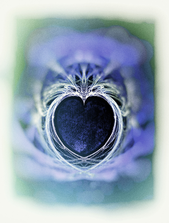 Painted fractal heart, rough painted fractal with heart shaped negative space, rough painted, blues and greens and blur vignette.