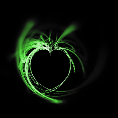 Fractal heart, a beautiful flame fractal creating a heart-shaped negative space, whites and green tints on black background, sharp grainy center and blur vignette.