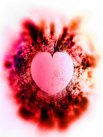 heart art, rough textured mixed-media fractal with heart shaped negative space, red tints and vignette blur.