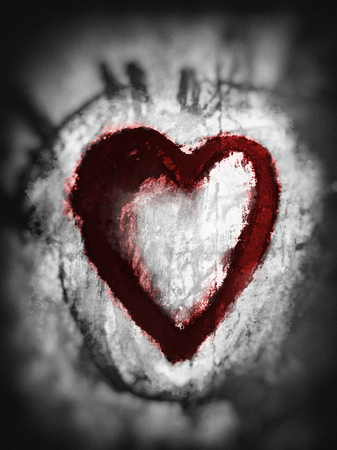 Smudged heart, a heart shape drawn roughly with smudged pastels, with paint splashes, black with red tints, with vignette blur. Stock Photo