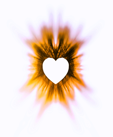 Processed drawn heart, a symmetrical scribbling with zoom blur, creating a heart-shaped negative space, vivid warm yellow tints, on white background.