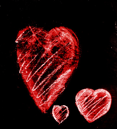Three chalk hearts of different sizes on a piece of dark gray slate, smudged chalk on rough slate texture, with additional rough hatching, red tints.
