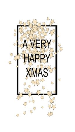 christmas card with frame and star shapes and the words a very