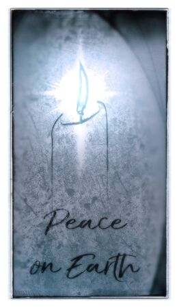 Christmas card with a candle and the words Peace On Earth, in contemporary style with rough grunge texture, vignette blur and frame effect, blue tints.