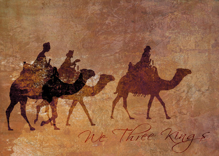 We Three Kings Christmas card, a Christmas card with 3 kings on camels, rough oil painted style, warm color tints, with the words We Three Kings in a contemporary font.