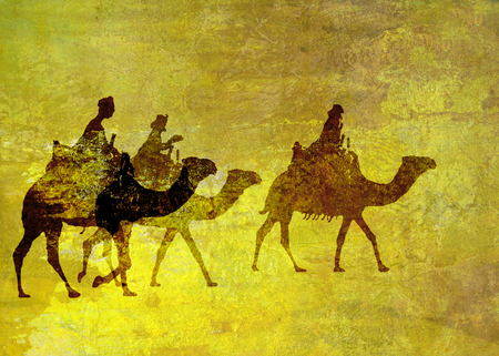We Three Kings Christmas card, a Christmas card with 3 kings on camels, rough oil painted style, yellow tints.