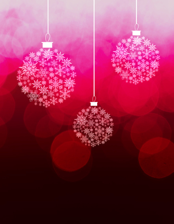 Christmas card with baubles design, three bauble shapes made from snow flake images, on slightly texture bokeh background, red tints.