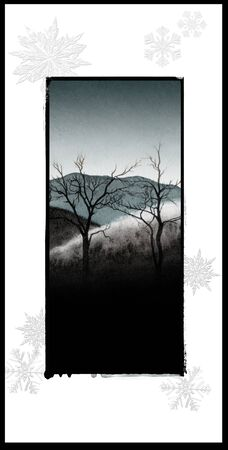 Christmas card with watercolor of winter landscape with trees, blue tints, with frame effect.