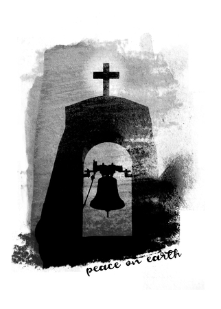 Grunge painted Christmas card with the image of a simple church bell tower on grunge painted concrete texture, with the words Peace On Earth, grays, monochrome. Фото со стока