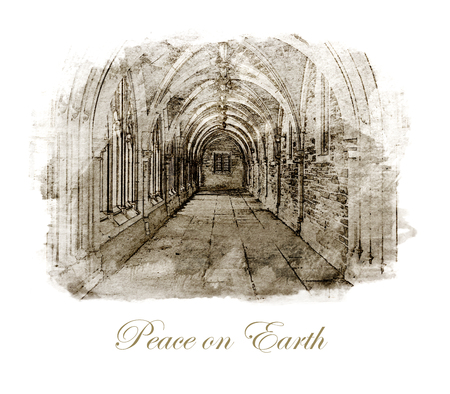 Peace on Earth wording Christmas card, with the sketch of an old monastery interior, sepia tinted.