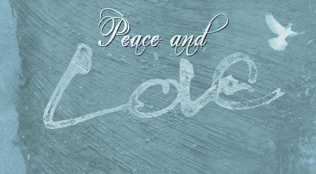 Christmas card with the words Peace and Love, with the Love lettering rough sketch painted on painted concrete surface texture, blue tints with dove image.