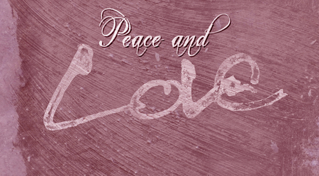 Christmas card with the words Peace and Love, with the Love lettering rough sketch painted on painted concrete surface texture, red tints.