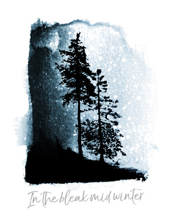 Watercolor Christmas card, a watercolor winter landscape with conifer trees and snow, blue tints, and the words In the Bleak Mid-Winter in contemporary font.
