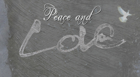 Christmas card with the words Peace and Love, with the Love lettering rough sketch painted on painted concrete surface texture, grays, with dove image.