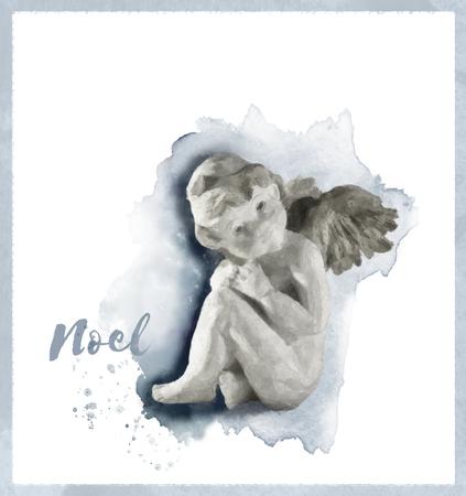 天使ノエル クリスマス カード、現代ブラシ フォント、および塗装テクスチャ フレームに、ノエルとの小さな天使像の水彩画、青と茶色の濃淡。 写真素材