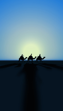 Three Kings Christmas card with the 3 wise men on camels with sunset and realistic shadows on a simple desert landscape, blue tints, tall. Banque d'images