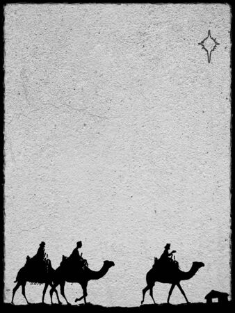 Three Kings Christmas card, design style with silhouettes of the 3 wise men on camels on a rough surface with a single star over a distant barn, with frame effect, with rough stone texture,gray. Stock Photo