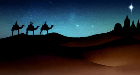 Three wise men Christmas card, with 3 kings on camels traveling on sand dunes, towards an ancient city with a single star above it, in evening light, with brush-strokes effect. Stock fotó