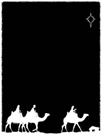 Three Kings Christmas card, design style with silhouettes of the 3 wise men on camels on a rough surface with a single star over a distant barn, with frame effect, white on black background.