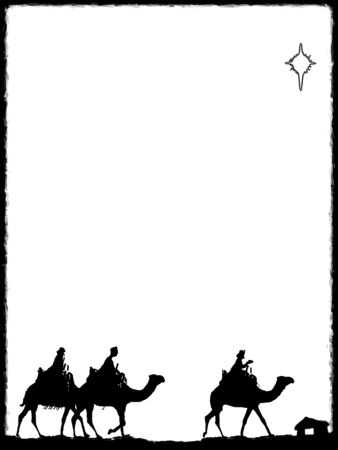 Three Kings Christmas card, design style with silhouettes of the 3 wise men on camels on a rough surface with a single star over a distant barn, with frame effect, black on white background.