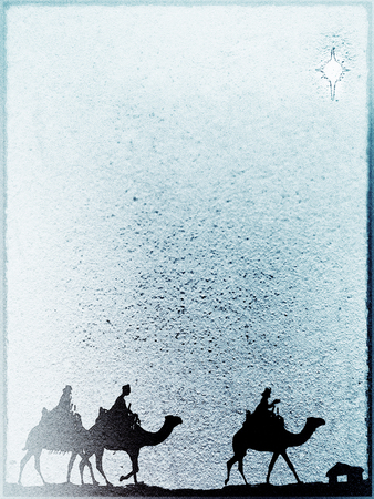 Three Kings Christmas card, design style with silhouettes of the 3 wise men on camels on a rough surface with a single star over a distant barn, with frame effect, rough stone texture and blur vignette, blue tints.