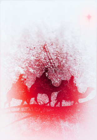 Three Kings Christmas card, design style with silhouettes of the 3 wise men on camels on sand dune shapes and a single star, with vignette blur and rough artistic texture, red tints. Foto de archivo