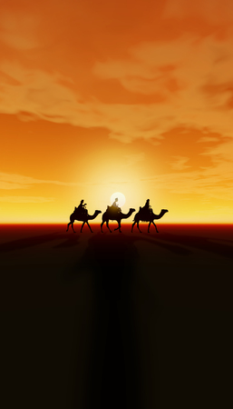 Three Kings Christmas card with the 3 wise men on camels on a simple desert landscape with sunset and shadows 3D image, orange tints, tall. Foto de archivo