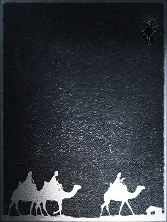 Three Kings Christmas card, design style with silhouettes of the 3 wise men on camels on a rough surface with a single star over a distant barn, with frame effect, rough stone texture and blur vignette, grays. Stock Photo