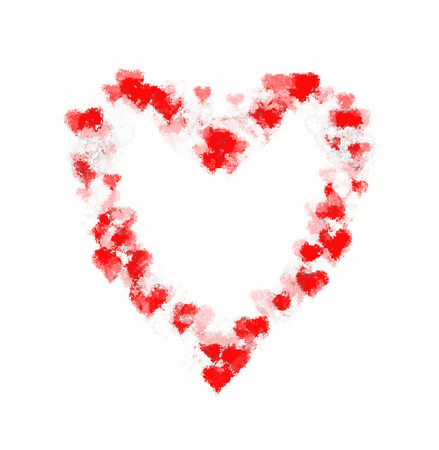 Faded rough large heart-shape made of many smaller heart-shapes, with sketch effect. Red, on white background.