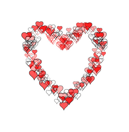 Large heart-shape made of many smaller heart-shapes, some outline only, some filled, some with sketch effect. Red and black, on white background. Banco de Imagens