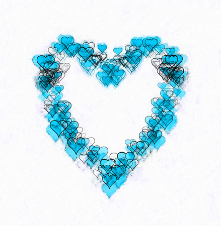 Large heart-shape made of many smaller heart-shapes, some outline only, some filled, some with sketch effect. Blue and black, on white background.