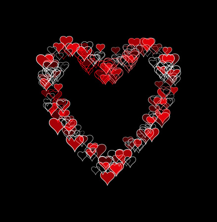 Large heart-shape made of many smaller heart-shapes, some outline only, some filled, some with sketch effect. Red and white, on black background.