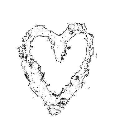 Rough painted heart-shape outline on rough surface. White background. 스톡 콘텐츠