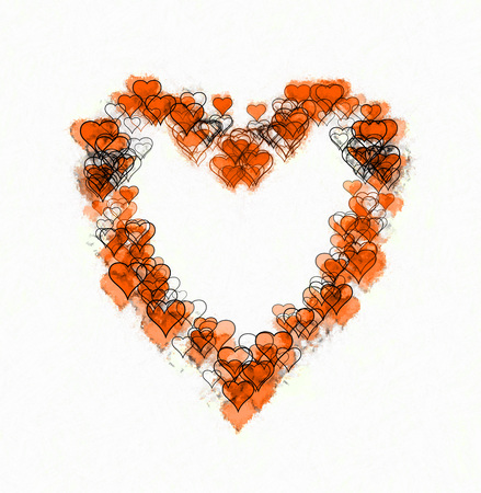 Large heart-shape made of many smaller heart-shapes, some outline only, some filled, some with sketch effect. Orange and black, on white background. Banco de Imagens