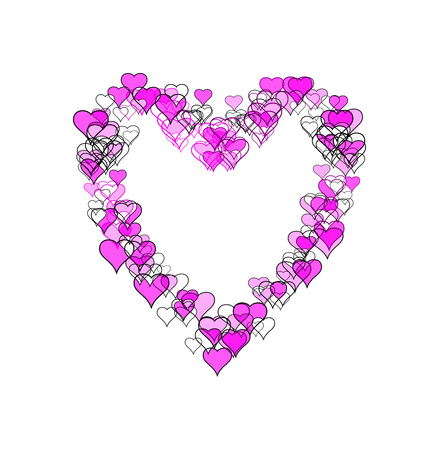 Large heart-shape made of many smaller heart-shapes, some outline only, some filled, some with sketch effect. Purple and black, on white background.
