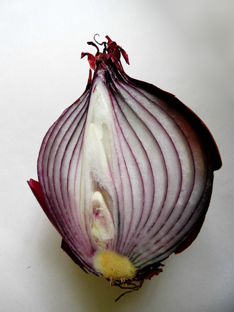 red onion halved, showing the inside.