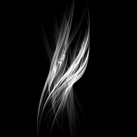 Beautiful and unusual flame fractal. White on black. Banco de Imagens