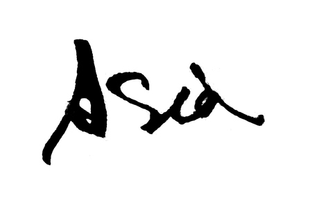 The word Asia, handwritten with watercolor brush lettering calligraphy. Black on white background