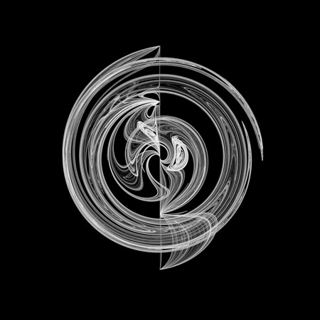 Beautiful and unusual circular flame fractal. White on black.
