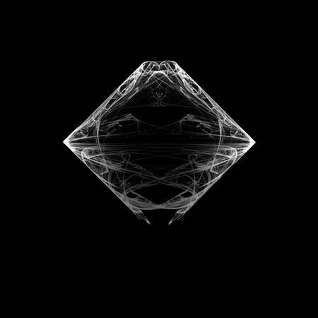 Beautiful and unusual symmetrical flame fractal. White on black.