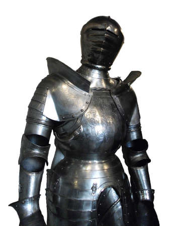 A suit of armor, isolated on a white background