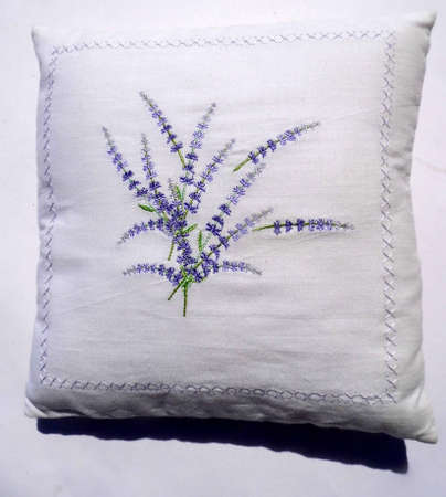 White cushion with embroidered blue flowers.