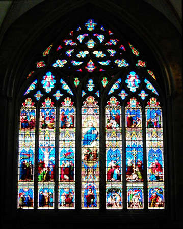 Stained glass church window, UK.