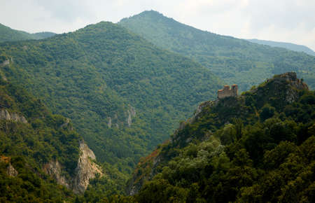 Landscape from the Rhodope mountain with the Asenova fortress Stock Photo