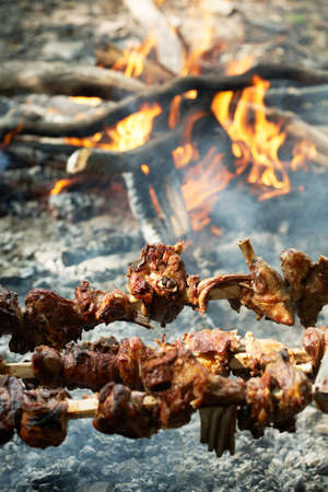 Lamb broach, roasted on open fire at the St.Georges day Stock Photo