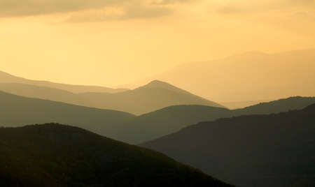 Mountain ridges at sunset