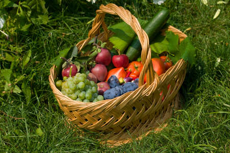 Fresh fruits and vegetables in a basket, the basket in a green grass Stock Photo - 6945510