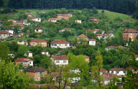 Houses from the gipsy neighbourhood in Kotel town, Bulgaria Stock Photo