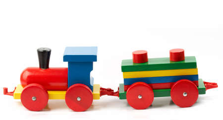 Wooden train, a toy, isolated on white